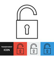 transparent open padlock icon vector image vector image