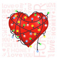 valentine gift card with heart and lanterns vector image
