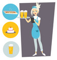 waitress with a tray and a beer set with objects vector image vector image