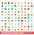 100 house cleaning icons set cartoon style vector image vector image