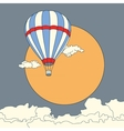 air balloon flying in clouds at sunset vector image