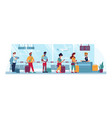 airport people in masks travel social distance vector image vector image