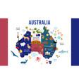 australia map animal flat design vector image