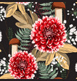 autumn dahlia flowers herbs and mushrooms vector image