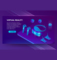 background with gadgets for virtual reality vector image vector image