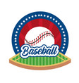 baseball game sticker with ball and field vector image vector image