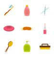 bathroom equipment icons set flat style