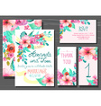beautiful set invitation cards with watercolor vector image vector image