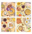 bundle of top views of served breakfast meals vector image vector image