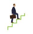 businessman step stock market concept vector image vector image