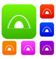 camping dome tent set color collection vector image vector image