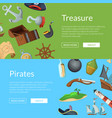 cartoon sea pirates banner templates vector image vector image