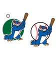 Cartoon wise old owl playing baseball vector image