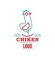 chicken premium quality estd 1976 logo retro vector image vector image