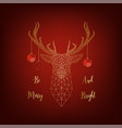 christmas card with golden deer decorated by balls vector image
