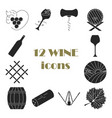 collection of dark wine icons vector image vector image
