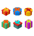 colorful present and gift boxes with ribbon bows vector image