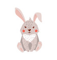 Cute hand drawn hare isolated on white