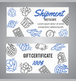 delivery and shipment gift certificate shipping vector image vector image
