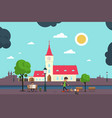 european style abstract city park flat design vector image