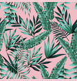 exotic green tropical leaves seamless pattern vector image vector image