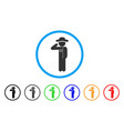 gentleman officer rounded icon vector image vector image
