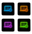 glowing neon laptop and gear icon on white vector image vector image