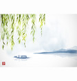green willow island and small boat on white vector image vector image