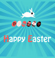 greeting easter card with rabbit and eggs vector image vector image