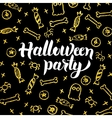 Halloween Party Gold Black Postcard vector image