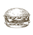 hand drawn hamburger vector image vector image