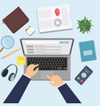 hands working on laptop businessman at work top vector image