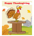 happy thanksgiving greeting with turkey bird vector image vector image