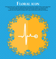 Heartbeat icon Floral flat design on a blue vector image