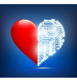 human heart with the circuit board inside vector image vector image