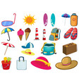 large set different summer objects on white vector image vector image