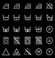 Laundry line icons on black background vector image vector image