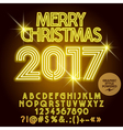 Light up yellow Merry Christmas 2017 greeting card vector image vector image