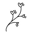 monoline cute branch with hearts vector image