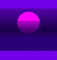 neon sunset in the style of 80s synthwave retro vector image vector image