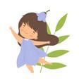 pretty brunette little girl wearing bell flower vector image vector image