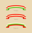 ribbon with flag of hungary austria and bulgaria vector image vector image