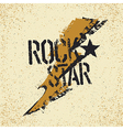 Rockstar Grunge lettering with thunderbolt symbol vector image vector image