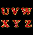sequin red and gold alphabet part 4 vector image vector image