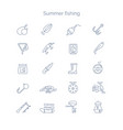 set linear icons for summer fishing vector image vector image