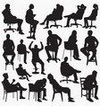 sitting silhouettes vector image vector image