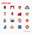 stand up comedy show thin line icons set vector image