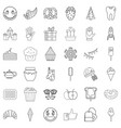 sweet icons set outline style vector image vector image