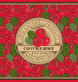 vintage cowberry label on seamless pattern vector image vector image