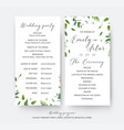 wedding floral greenery ceremony party program vector image vector image